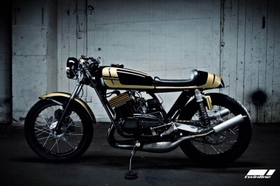 twinline motorcycles project gold head rd350 cafe racer