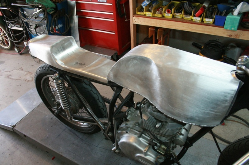 cafe racer seat and tank aluminum custom fabricatuion