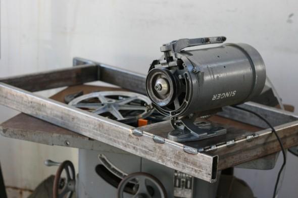 Helve Hammer Build metal forming sewing machine motor mounted to frame